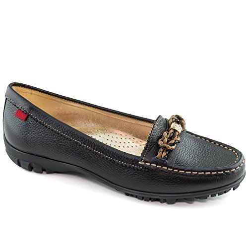 Marc Joseph New York Women's Golf Leather Made in Brazil Orchard Street Performance Loafer Moccasin, Black Grainy, 7.5 M US (Golf Loafers)