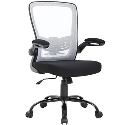 (Mid Back Office Chair Ergonomic Desk Chair Mesh Computer Chair Back Support Modern Executive Metal Base Rolling Swivel Chair for Women&Men, White)