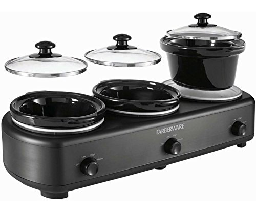 Farberware Dishwasher-Safe 3 Large Ceramic Pots and Lids Slow Cooker