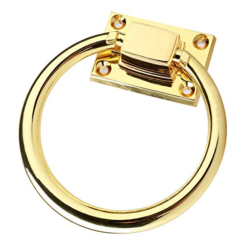 Furniture Hardware Drawer Pull Cabinet Handle Door Ring with Screws Shiny Gold Drop Pull Ring Wooden Door Knocker Chair Pulls Handle
