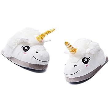 Coton Pantoufles en Peluche Licorne Unicorne Blanc Pointure Unique pour 35-40 pour Femme Fille HrgzqbLYD