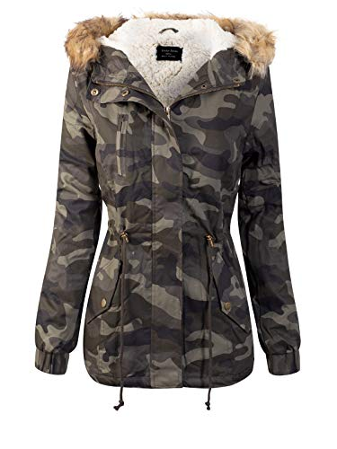 Instar Mode Women's Camouflage Sherpa Lined Hooded Military Safari Utility Fashion Jacket Olive S
