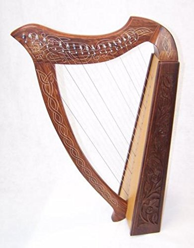 real Wood Celtic Harp 19 string Irish Style with Bag & Extra strings & key included by Sturgis
