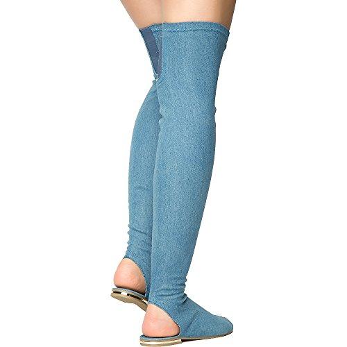 Bambu Kvinna Jpm Botemedel-09m Sandal Sandal Blå Denim