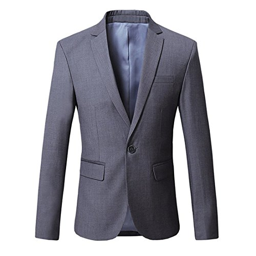 JEAREY Mens Blazer Casual Slim Fit Lapel Suit Jacket One Button Daily Business Dress Coat (Dark Grey, Large)