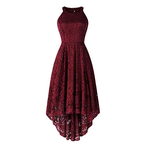 DEATU Princess Dress Women Vintage Floral Cute Lace Cocktail Neckline Ladies Party Swing Sleeveless Dress (L, C-Red) - Lace Studded Shorts