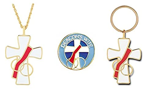 Deacon's Wife Pendant, Keychain & Lapel Pin Gift Set (Catholic Deacon Gifts)