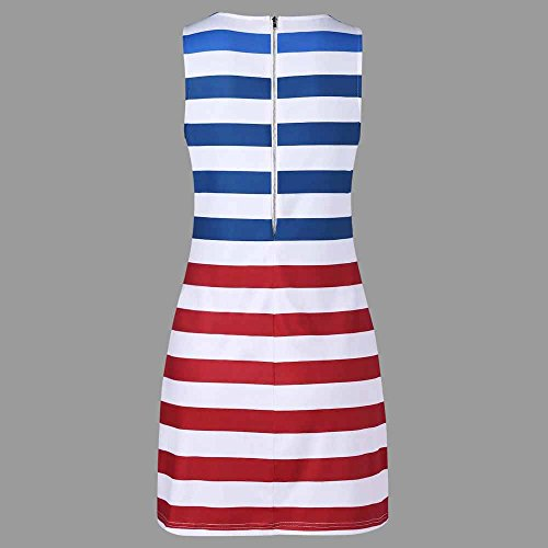 Women American Flag Vest Dress Printed Stripe Stitching O-Neck Sleeveless Maxi Mini Dress (S, Multicolor) by S&S-women (Image #3)
