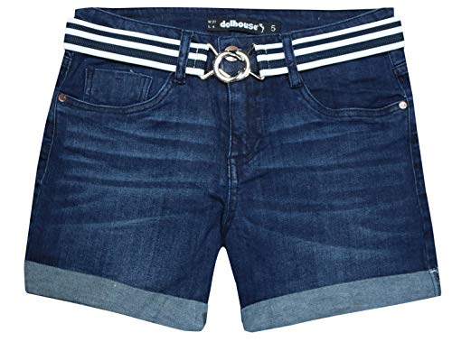 dollhouse Women\'s High Waist Stretch Denim Shorts with Belt and Folded Hem, Rinse Wash, Size 5'