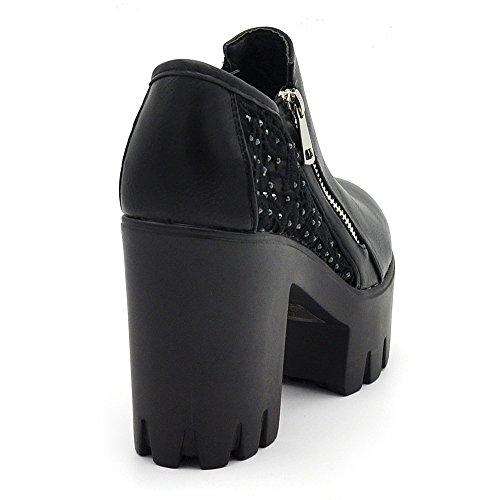 If Zeppa Platform Pizzo Fashion Armato Merletto Carro Ecopelle Donna B98 Tronchetti Nero B98 Scarpe Sconosciuto fHqw1H