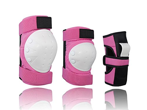 Skating 6 Pcs/Set Kid's Protective Gear Set with Elbow Knee Wrist Pad for Roller Skating Skateboard BMX Scooter Cycling (Pink M for Protection by Wetietir