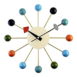A.Cerco Designer Wooden and Metal Analog Movement Wall Clock | 12.9 Large | Silent Ticking | Decorative | Colorful Wooden Balls | Pin Wheel Concept