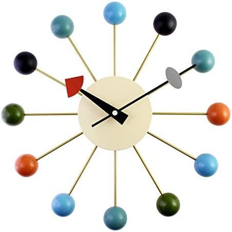 A.Cerco Designer Wooden and Metal Analog Movement 12.9″ Modern Wall Clock Silent Ticking