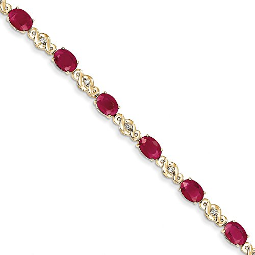 14k Yellow Gold Diamond and Ruby Bracelet (Color I-J, Clarity I1-I2)