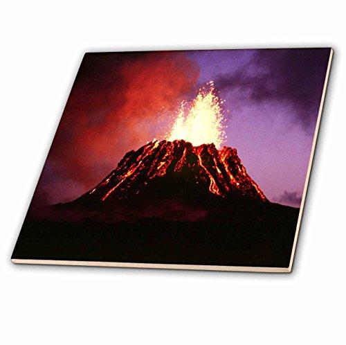 3dRose LLC Hawaii Volcano Eruption at Night 4-Inch Ceramic - 4 Ceramic Tile Inch