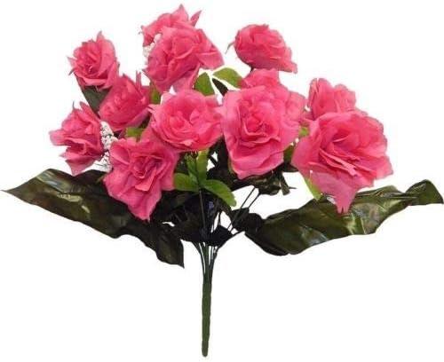 7 Open Roses DARK ORANGE Wedding Bridal Bouquet Soft Silk Flowers Centerpieces