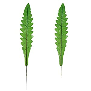 OULII 2Pcs Artificial Single Leaf Bird Fern Leaf Fake Plant Leaf Stem Home Kitchen Party Decorations 2