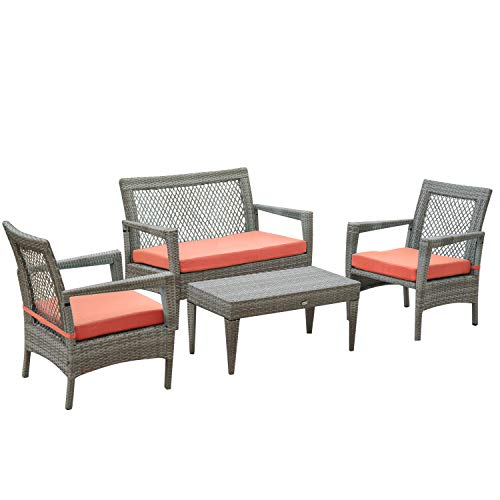 Auro Brisbane Outdoor Furniture | 3 Piece Rattan Patio Set | All-Weather Brown Wicker Bistro Set with 2 Water Resistant Olefin Cushioned Chairs & End Table | Porch, Backyard, Pool, Garden (Orange) (Brisbane Furnitures Outdoor)