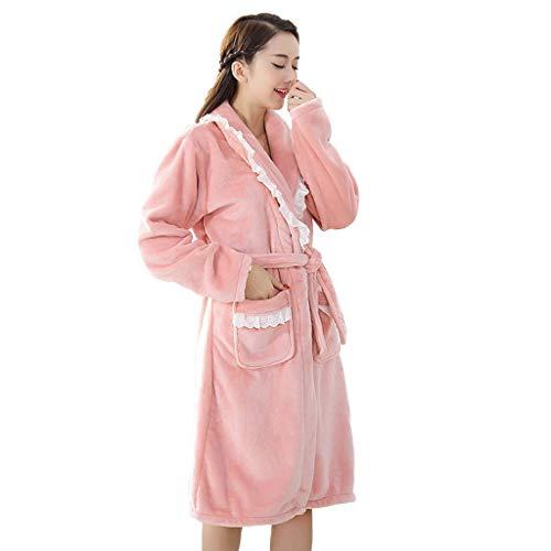 Terry Baño Para Albornoz Pink Franela Batas Mujeres Largas Caliente pqn5PEEf