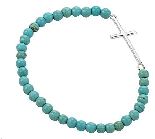 925 Sterling Silver Thin Cross Blue Reconstructed Turquoise Gemstone Sphere Bead Stretch Bracelet