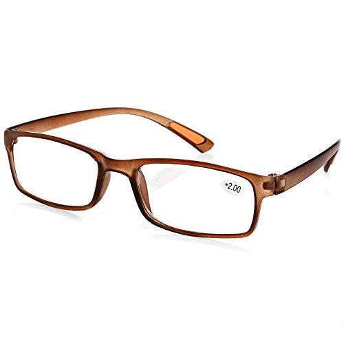 Doober Resin Framed Eyeglass Reading Glasses +1.0 1.5 2.0 2.5 3.0 3.5 4.0 Diopter (Tawny, - Framed Small Glasses