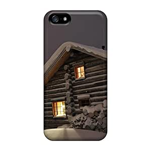 Hot New Quaint Winter Forest Log Cabin Cases Covers For Iphone 5/5s With Perfect Design