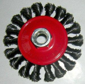 FUM Tools 4'(100mm) Twist Knot Knotted Wire Wheel Brush Semi Flat