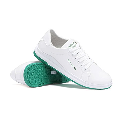 WEONEDREAM Mens Board Shoes Skateboard Sneakers,Casual Antiskid Wear-Resistant White-2