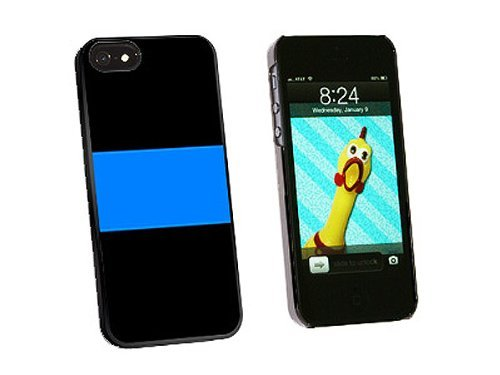 Graphics and More Thin Blue Line Police Snap-On Hard Protective Case for iPhone 5/5s - Non-Retail Packaging - Black