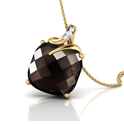 14K Or blanc 0,02ct tw Round-cut-diamond (IJ | SI) et quartz fumé Pendentif