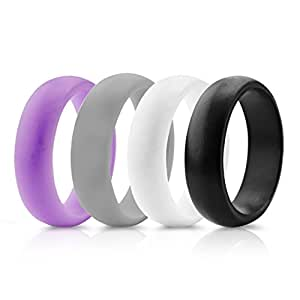 Womens Valentine's Day Gift-Silicone Wedding Ring Band - 4 Rings Pack- Purple, Grey, Black, White