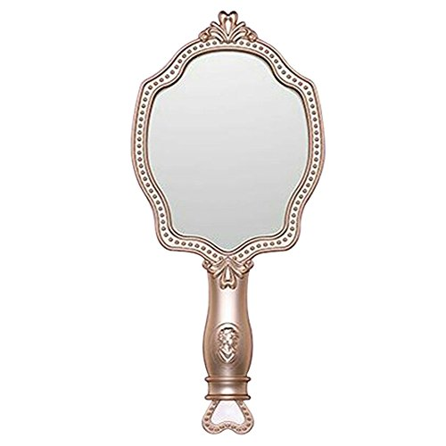 Girls Embossed Vintage Make-Up Hand Table Mirror Hand Held Makeup Mirror Princess Style Ideal Gift by KINGSEVEN (Image #6)