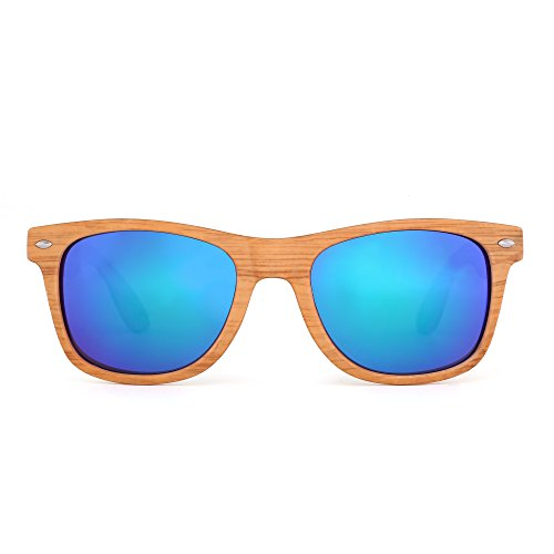 JM Retro Classic Original Mirrored Lenses Spring Hinge Wayfarer Sunglasses - Frame Cheap Wood Glasses
