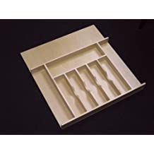 """Rev-A-Shelf 4WCT-3 4WCT Series 21\"""" Wide Trimmable Maple Cutlery Tray Insert, Natural Wood"""