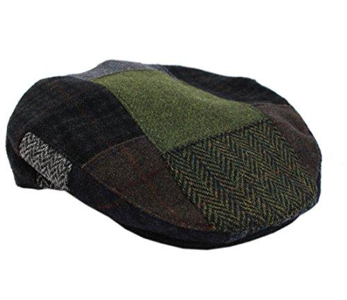 Patchwork Wool - Mucros Men's Flat Cap Patchwork 100% Wool Earthtones Made in Ireland XL