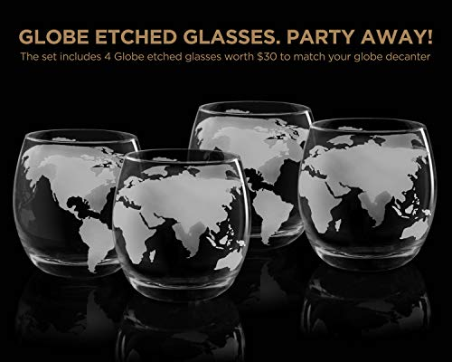 Whiskey Decanter Set World Etched Globe Decanter Antique Ship Glasses Bar Pour Funnel Stopper Liquor Dispenser Spirits Scotch Bourbon Vodka Rum Wine Tequila Brandy Perfect Gift 850 ml by flybold (Image #6)