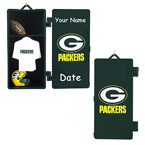 (LTD Commodities Personalized NFL Green Bay Packers Football Team Locker with Helmet and Jersey Hanging Christmas Ornament Decoration with Custom Name and Date (Optional))