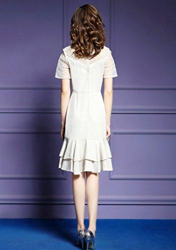 Cotylédons Women`s Robes De Couleur Unie Robe Côté Jabot Slim Fit Beige