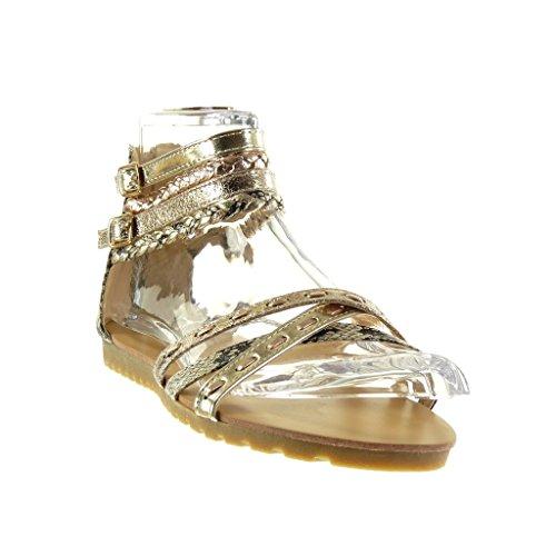 Angkorly - Chaussure Mode Sandale sexy femme multi-bride tréssé peau de serpent Talon plat 1.5 CM - Or