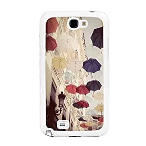 Hard Plastic Phone Case Cover for Samsung Galaxy Note 2 N7100 Colorful Graphic Print Hybrid Personalized Mobile Phone Skin Protector (flying umbrellas BY410)