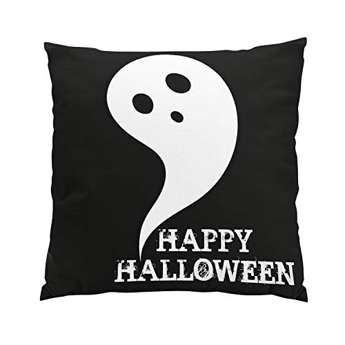 Wesbin Happy Halloween Ghost Romantic Hidden Zipper Home Sofa Decorative Throw Pillow Cover Cushion Case Inch 18x18 Square Two Sides Design Printed Pillowcase ()
