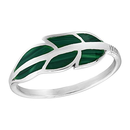 AeraVida Floating Feather Malachite Inlay .925 Sterling Silver Ring (10)