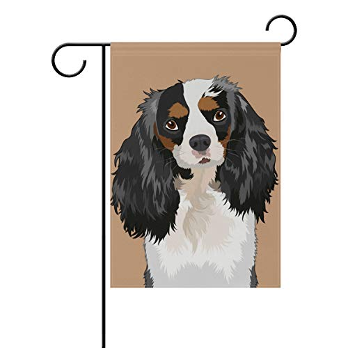 Hokkien Cavalier King Charles Spaniel The Buddy Dog Garden Flag Banner 12 x 18 Inch Decorative Garden Flag for Outdoor Lawn and Garden Home Décor Double-Sided