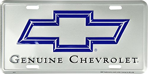 Genuine Chevrolet Chevy Trucks Cars Silver Aluminum License Plate Tag