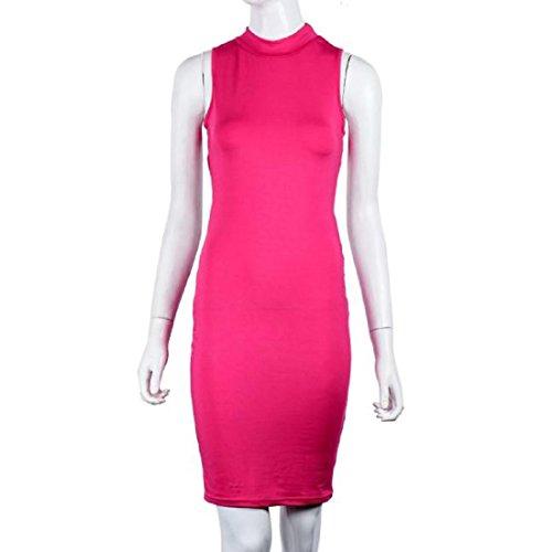 Tongshi Partido de las mujeres hueco mangas atractivo de la cadera del paquete del vestido de la falda Rosa caliente
