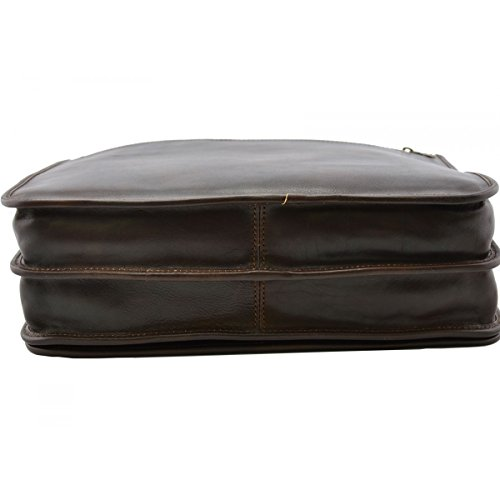 Messenger Aus Echtem Leder Farbe Dunkelbraun - Italienische Lederwaren - Herrentasche