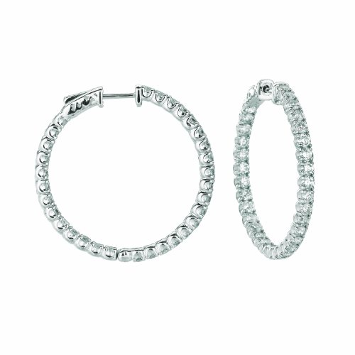 14K White Gold Hoop Earrings (patented snap lock) - 4.5ctw. Diamond