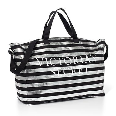 Victoria's Secret Bombshell Tote Duffle Bag Black & Silver Stripe