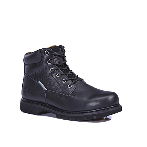 KINGSHOW Men's 1406-2 Premium Black Full-Grain Leather Plain Rubber Sole Soft Toe Work Boots 10 M US