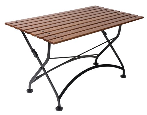 Bistro Slat (Mobel Designhaus French Café Bistro Folding Coffee Table/Bench, Jet Black Frame, European Chestnut Wood Slat Top with Walnut Stain)